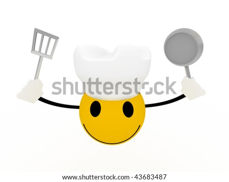 Smiley chef with frying pan and spatula on white background. High quality 3d  render.