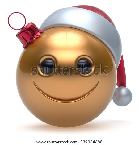 Smiley face Christmas ball emoticon Happy New Year's Eve bauble cartoon decoration cute golden. Merry Xmas cheerful funny smile Santa hat joyful person laughing joy character toy adornment. 3d render - stock photo