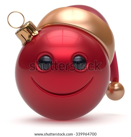 Smiley face Christmas ball emoticon Happy New Year's Eve bauble cartoon decoration cute red. Merry Xmas cheerful funny smile Santa hat joyful person laughing joy character toy adornment. 3d render - stock photo