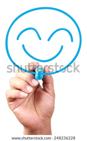 Smiley Face drawing on transparent whiteboard. - stock photo