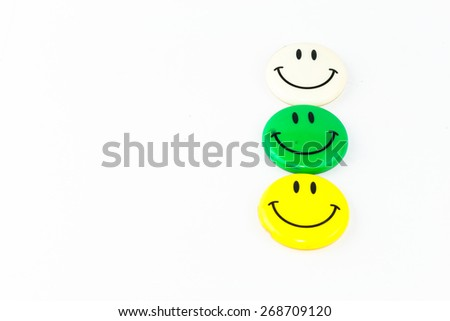 Smiley face magnet isolated background