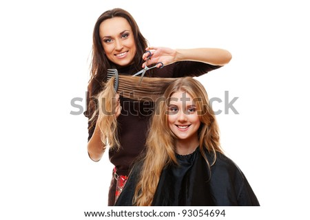 smiley hairdresser with client. isolated on white background - stock photo