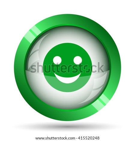 Smiley icon. Internet button on white background.