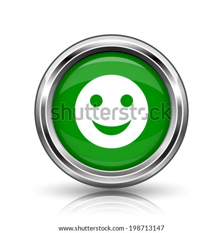 Smiley icon. Metallic internet button on white background.