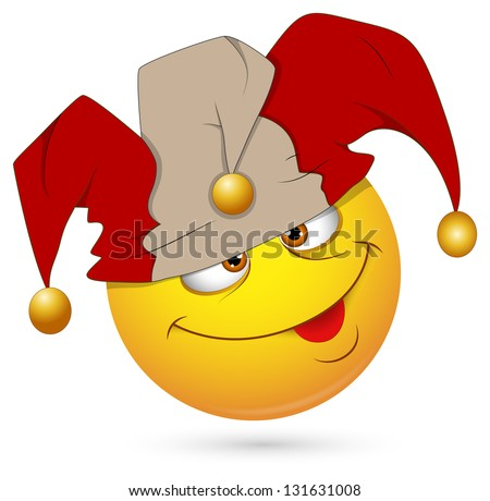 Smiley Illustration - Jester Face - stock photo