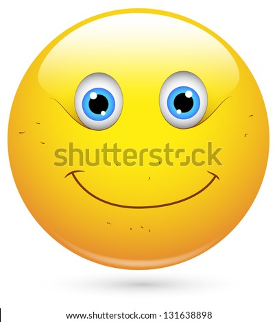 Smiley Illustration - Unshaved Face - stock photo