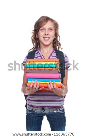 smiley little student holding some books. isolated on white background - stock photo
