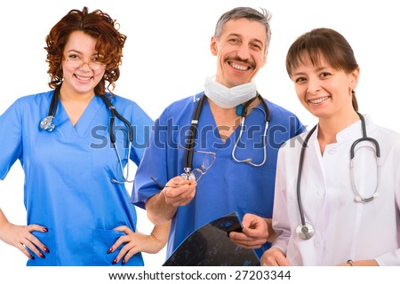 smiley medical team. three male and female doctors - stock photo
