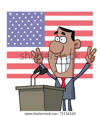 Smiley Politician Gesturing With Peace Signs And Standing At A Podium - stock photo