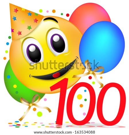 smiley with balloons, having a party. one hundred birthday - stock photo