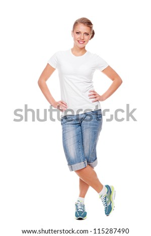 smiley woman in white t-shirt, shorts and jogging shoes - stock photo