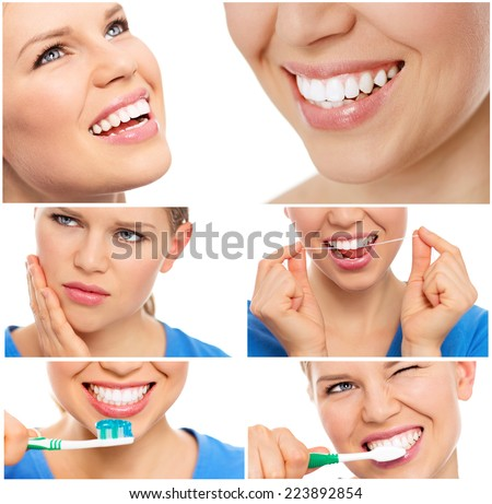 Smiley woman. Teeth whitening. Dental care. Healthy Smile. Laughing Girl with beautiful teeth. Collage over white background.