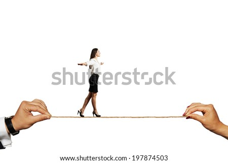 smiley woman walking on the rope. isolated on white background