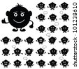 Smilies, set of round black and white characters, symbolising various human emotions - stock vector