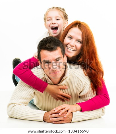 Smilimg happiness family on the white background - stock photo