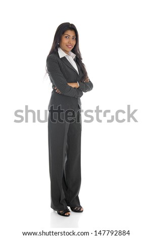 smiling african american business female isolated on white full body  - stock photo