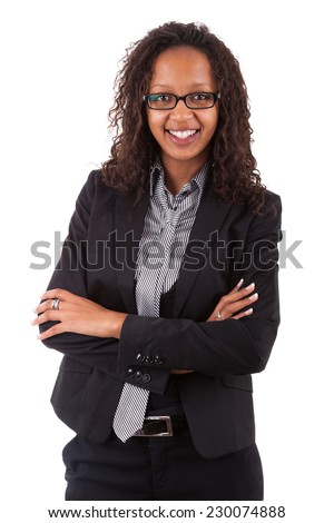 Smiling african american business woman, Isolated over white background - stock photo