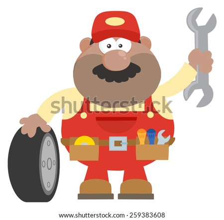 Smiling African American Mechanic Cartoon Character With Tire And Huge Wrench Flat Style. Raster Illustration With Background - stock photo