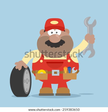 Smiling African American Mechanic Cartoon Character With Tire And Huge Wrench Flat Syle. Raster Illustration Isolated On White - stock photo