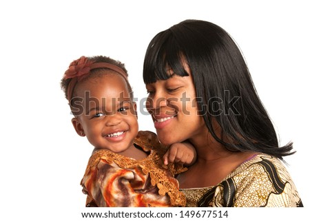 Smiling African American Mom Holding Baby Girl Isolated on White Background - stock photo