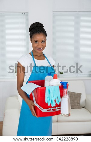 Smiling African Woman Holding Basket With Cleaning Equipment - stock photo