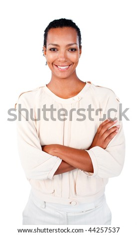 Smiling afro-american businesswoman with folded arms against a white background - stock photo