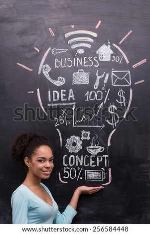Smiling afro-american woman on chalkboard background looking at camera. Painted lightbulb with business ideas on chalkboard. Concept for success - stock photo