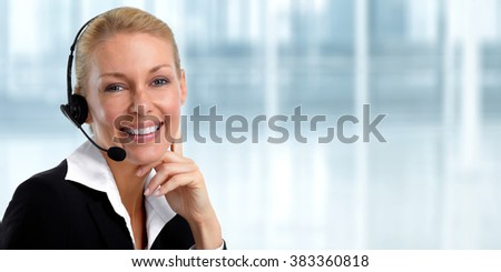 Smiling agent woman with headsets. - stock photo