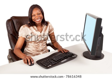 Smiling and Beautiful African American Businesswoman - stock photo