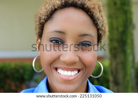 Smiling and Happy Professional Attractive African American Business Woman Person Black Hair  - stock photo