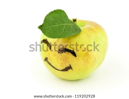 Smiling apple isolated on white - stock photo