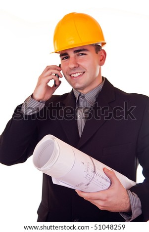 smiling architect with blueprints talking on phone