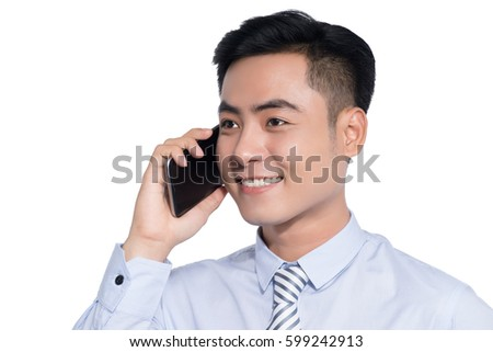 Smiling asian business man, phoning