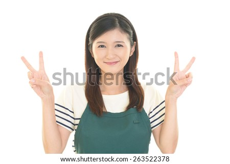 Smiling Asian housewife