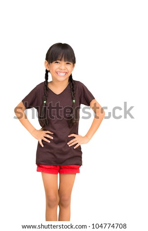 Smiling asian little girl, Isolated on white with Clipping path - stock photo