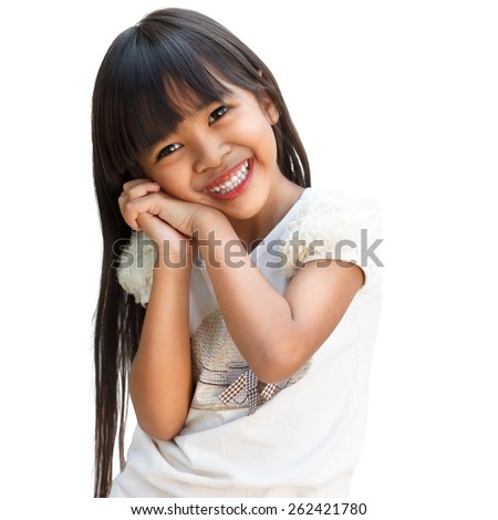 Smiling asian little girl, Isolated over white - stock photo
