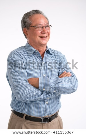 Smiling Asian man looking at side, isolated on white