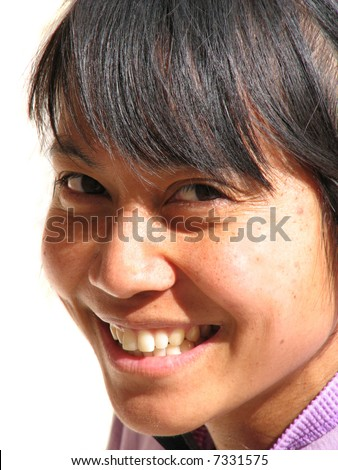 Smiling Asian woman portrait with white background