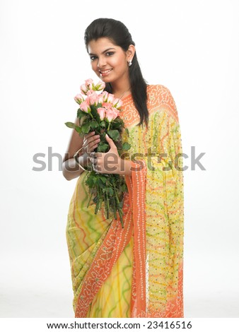 Smiling asian woman with  bunch of pink roses - stock photo