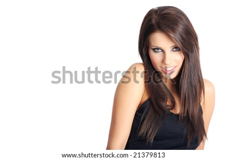 Smiling attractive brunette in black shirt.