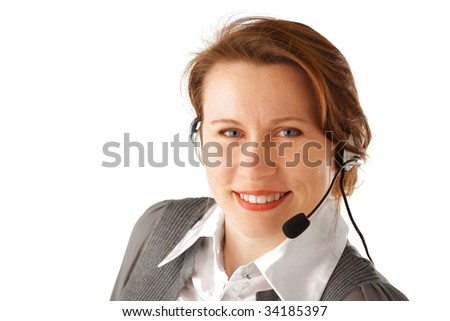 Smiling attractive business woman with headset, isolated over white background