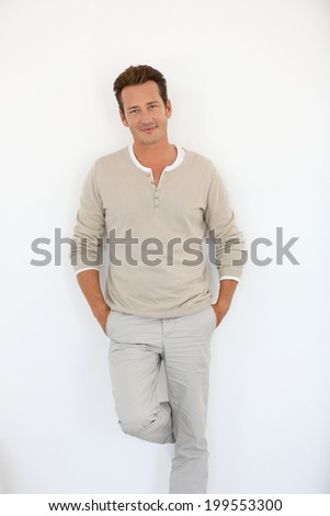 Smiling attractive mature man, isolated - stock photo