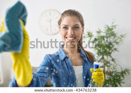 Smiling attractive wife washing a window - stock photo