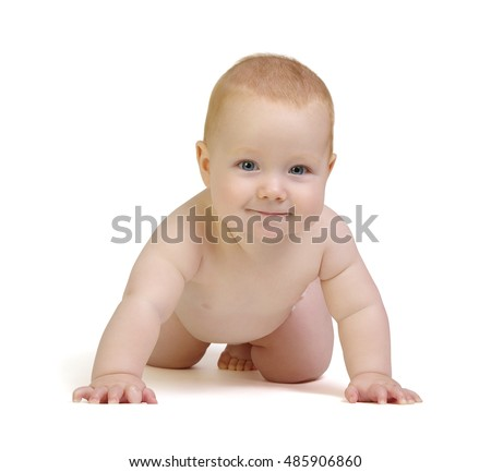 smiling  baby boy isolated on white