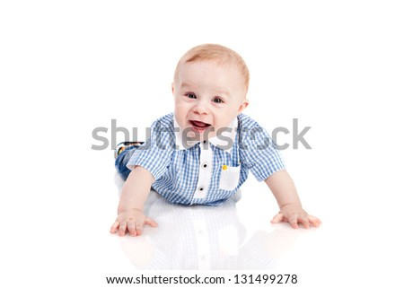Smiling Baby boy isolated over white - stock photo
