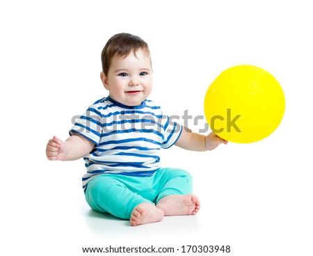 Smiling baby boy  with ballon - stock photo