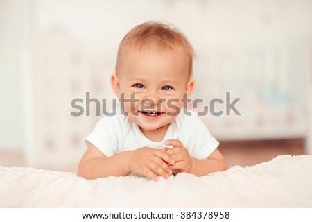 Smiling baby girl - stock photo