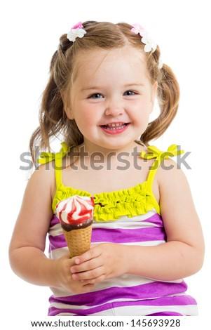 smiling baby girl eating ice cream isolated - stock photo