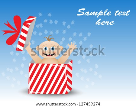 smiling baby in a striped gift box on a blue background - stock photo