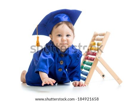 smiling baby weared academical clothes with abacus - stock photo